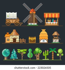 Old village. Different objects, sprites: wagon, cart, mill, trading shop, stone house, a hut with a thatched roof, wooden well, chest. Trees and plants: oak, tree, palm, cactus. Vector flat style