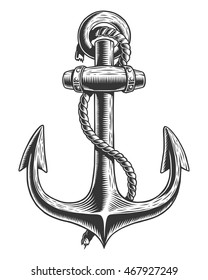 Old vintage anchor with rope