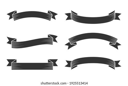 Old vintage black silhouette ribbon set. Retro glyph banner tape in engraving style. Simple blank template different shape. Decorative flag for text, price tag, sale label Isolated vector illustration