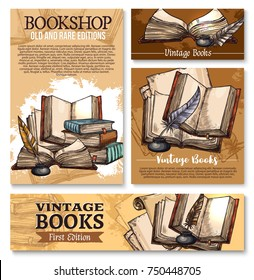 Old vintage books sketch poster and banner templates for library or rarity bookshop. Vector design of ancient rare books and manuscripts, writer ink pen quill or feather in inkwell for bookstore
