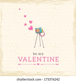 Old vintage camera with Heart. Vector illustration card in hipster style. Template for design of cards and invitations.