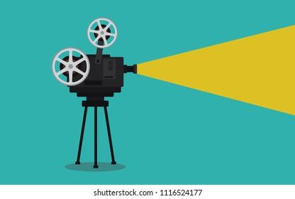 old vintage camera movie on tripod vector illustration