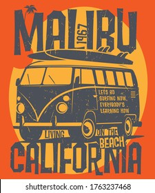 Old vintage camp car for summer surfing traveling and living on the California beaches. Camping truck print illustration design for clothe, t-shirt, sticker or posters. Vector illustration