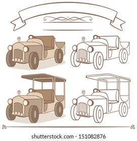 old vintage car cartoon illustration, 1920s style