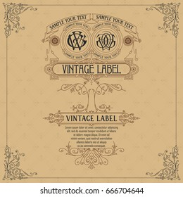 Old vintage card with floral ornament - vector