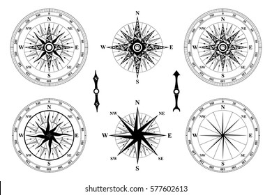 Old Vintage Compass vector. Rose of Wind