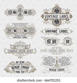 Old vintage floral elements - ribbons, monograms, stripes, lines, angles,border, frame,label, logo - vectors