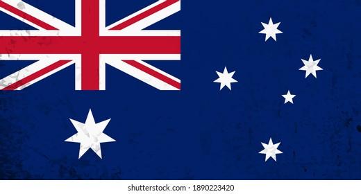 Old Vintage Grunge flag of Australia.