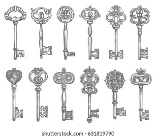 Old vintage key and antique skeleton key sketch set. Door key with long shank and decorative bow, adorned by floral pattern with crown, heart, fleur-de-lis ornament. Jewelry, security concept design