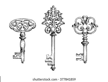 Old vintage key skeletons set. Vector sketch style. Isolated on white background