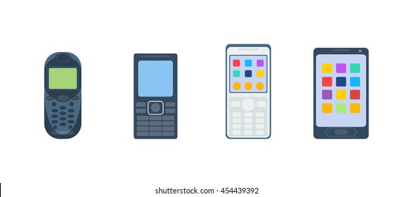 Old vintage keypad mobile phone and icon of old classic mobile phone antique vector