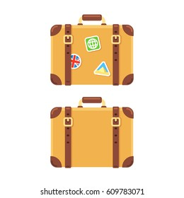 Old vintage leather suitcase, plain and with stickers of visited places. Isolated vector illustration in flat cartoon style.