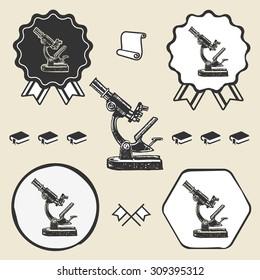 Old vintage microscope symbol emblem label collection set