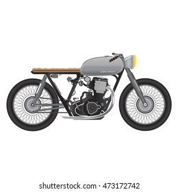 Old vintage motorcycle, metallic color. cafe racer theme