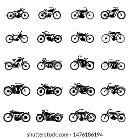 old vintage motorcycle vector set illustrations in simple style on a white isolated background.