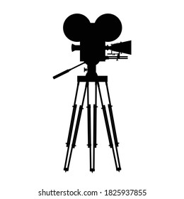 Old, vintage movie camera vector silhouette isolated on white background. Old film camera, old video camera. Vector