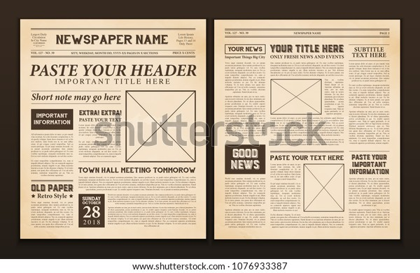 Old vintage newspaper 2 realistic pages templates for you title header edition name text isolated vector illustration