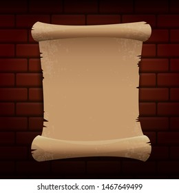old vintage paper ribbon scroll isolated on brick wall background. vector old paper icon or label