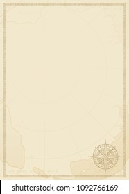 Old vintage paper with wind rose compass sign. Vector illustration on the theme of travel, adventure and discovery on the background of old map. Pirate map concept.