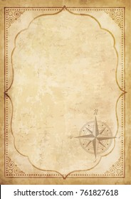 Old vintage paper with wind rose compass sign. Highly detailed vector. Template with space for text framed with oriental ancient pattern. Pirate map concept.