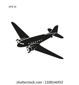 Old vintage piston engine airliner. Legendary retro aircraft vector illustration