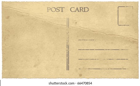 Old vintage postcard back. Vector