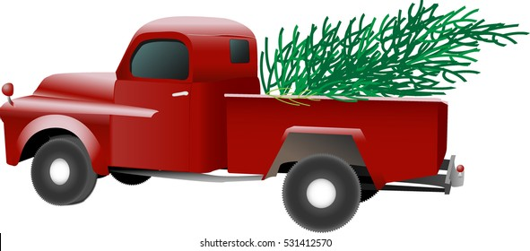 Old vintage red pickup truck carrying a Christmas pine tree in the bed, vector illustration on white