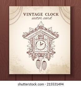 Old vintage retro sketch cuckoo clock paper card vector illustration