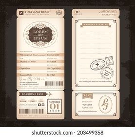 Old Vintage style Boarding Pass Ticket Wedding card background