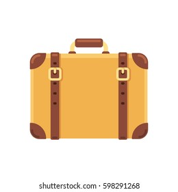 Old vintage suitcase with leather belts, isolated vector illustration in flat cartoon style.