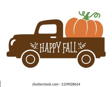 An old vintage truck with harvest pumpkin. Fall pumpkin vector illustration.