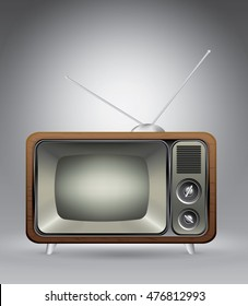 Old vintage tv on grey, vector illustration template for advertising