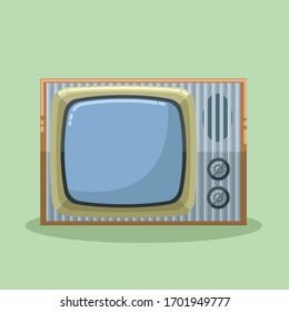 Old vintage tv set. Retro television broadcast device. Home decoration flat design style