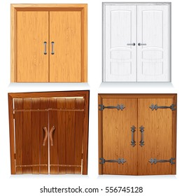 Old Vintage Wood Doors, Wooden Gates and Doorway. Medieval Vector Set