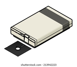 """An old vintage/retro obsolete computer disk drive with a 5.25"""" floppy diskette."""
