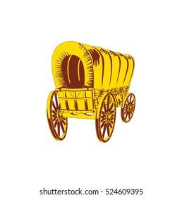 Old wagon. Flat style. Vector illustration