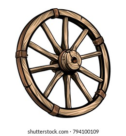 Old wagon wooden wheel vector illustration. Cartoon romantic illustration.