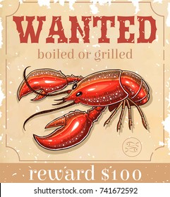 old wanted paper with lobster