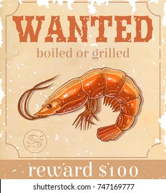 old wanted paper with shrimp
