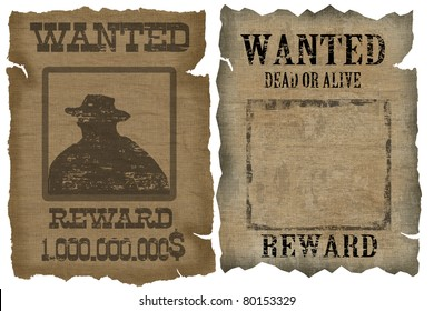 A old wanted posters with a cowboy silhouette and blank, vector illustration