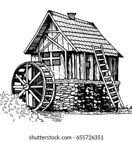 Old water mill engraving vector illustration. Scratch board style imitation. Hand drawn image.