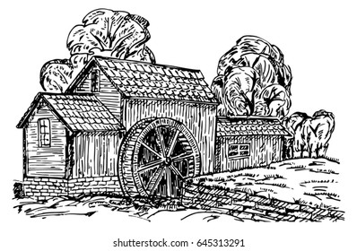 Old water mill sketch. Hand drawn old rustic mills. Vintage  illustration.
