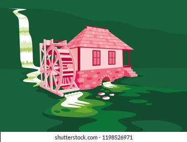 Thế giới Tình yêu - Page 10 Old-water-mill-vector-illustration-260nw-1198526971