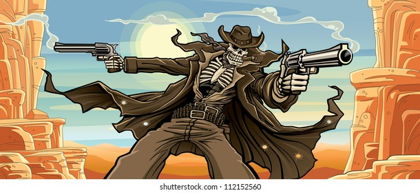 Old West Gunslinger: Canyon Pass Version Vector illustration of an old west undead skeleton gunslinger shooting two revolvers in front of a scenic desert - canyon background.