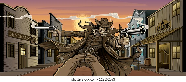 Old West Gunslinger: Town Version Vector illustration of an old west gunslinger shooting two revolvers in front an old west town with general store, saloon, feed store, hotel, gun shop, etc.