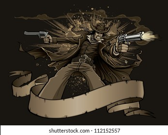Old West Gunslinger Vector illustration of an old west cowboy gunslinger smoking a cigar during a gun fight. Gunman shoots two revolvers behind a blank banner as explosions go off in the background.