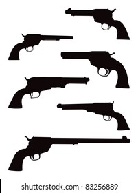 Old West Pistols and Hand Gun Revolver Vector Silhouettes Graphic Illustration Set