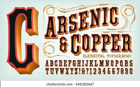 An old west style copper clad font with red and black. Good for frontier town signage, circus carnival graphics, or classic steampunk styling.
