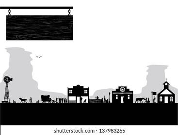 Old west town, vector