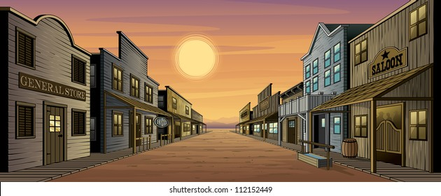 Old West Town. Vector illustration of an old west town at sunset. Town includes a general store, saloon, feed store, gun shop, hotel and several other highly detailed buildings.